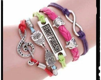 CUTE Multi Colored BESTFRIEND Infinity Bracelet