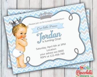 PRINCE BABY Invitation Party Birthday BOYS