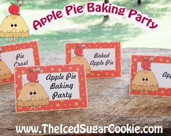 Apple Pie Baking Party Food Label Tent Cards-Printable Template DIY Cutout-Apple Pie Baking Party, Apples, Pie Crust, Baked Apple Pie