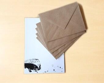 Stationery Letter Writing Set with kraft envelopes - Vintage Volkswagen Van