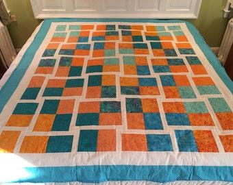 Full/queen size Quilt.....Teal/orange quilt