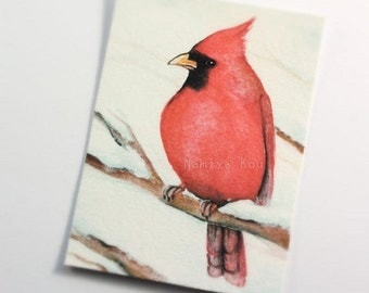 ACEO Print, Bird Artwork, Beautiful ATC Print, Cardinal, Watercolor, Limited Edition Giclee Print, Nature Fine Art, Winter