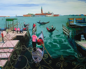Acrylic painting,Italian Gondoliers,Venice alleys,Original art,Bright cityscape,Artwork on canvas,River boats,Soft blue painting, Calm water
