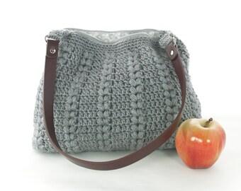 Grey Puff Pairs Crochet Handbag Purse