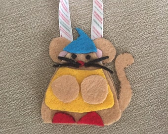 Handmade Felt Mouse Christmas Ornament