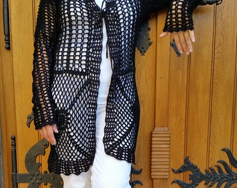 Black crochet handmade summer cardigan *free shipping*
