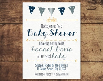 Customizable Bicycle & Bunting Baby Shower Invitation Printable - Gender Neutral