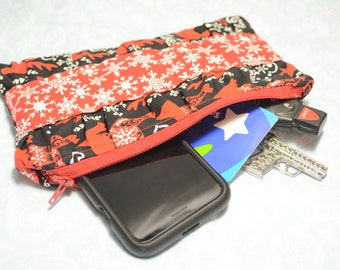 Holiday Ruffle Clutch- Clutch Purse- Make-Up Bag- Zippered Clutch- Holiday Gift- Toiletry Bag- Handbag