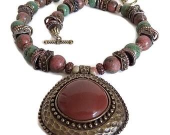 Boho Necklace, African Necklace, Hippie Necklace, Southwestern Necklace, Bohemian Necklace...