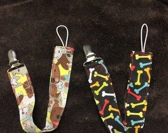 Set of 2 Doggy Pacifier Clips, Binky Leash, Baby Shower Gift, Baby Gift