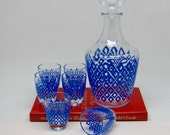 Vintage French Blue Diamonds Set with Decanter and 6 Shot Glasses