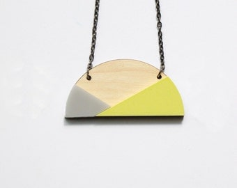 Abstract necklace – grey and yellow semicircle | Colour block wood | Grey and yellow geo necklace | Yellow mod arch halfmoon colour pop