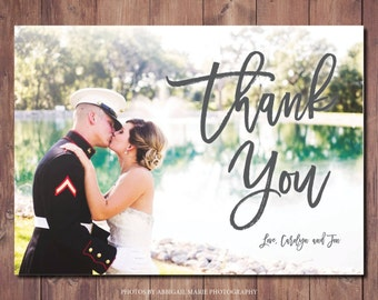 Printable Wedding Photo Thank You Card, Wedding Thank You Printable, Wedding Thank You Card, Photo Credit: AMP