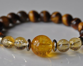 Money Magnet Bracelet,Citrine,Amber,Tiger's Eye Mala Stackable Gemstone Beaded Bracelet,Boho Jewelry,Tibetan Buddhist Bracelet,Reiki Healing