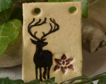 Jewellery / romantic pendant with deer and flower / hand-painted / piece