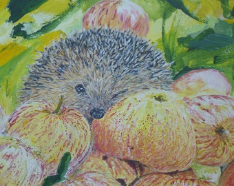 acrylic on canvas hedgehog in the Orchard