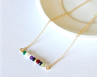 Family birthstone bar necklace ~ Style 1