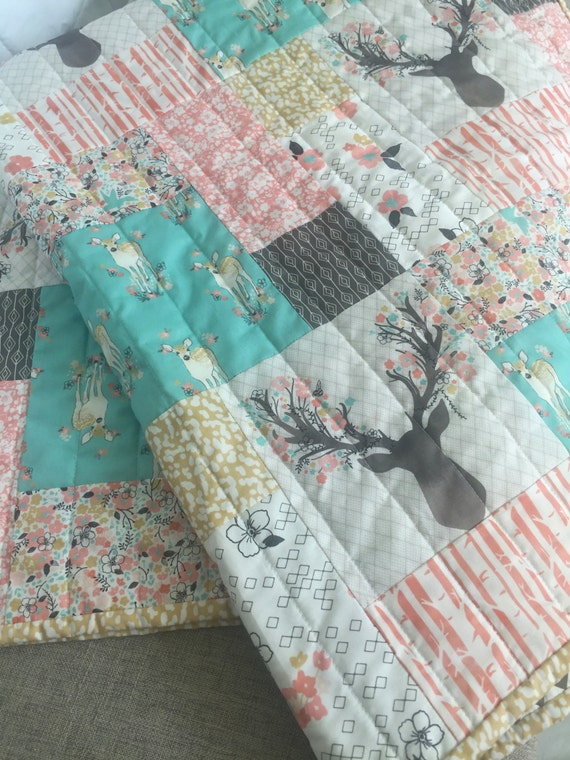Woodland Baby Quilt Woodland Nursery Bedding Baby Girl