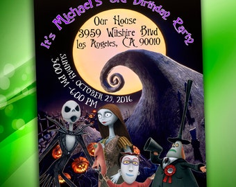The Nightmare Before Christmas Invitation - The Nightmare Before Christmas Birthday Party, Halloween Birthday Invitation, Halloween party