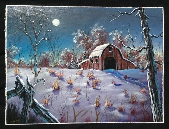 Peaceful Winter Night Original Hand Painted Acrylic Painting