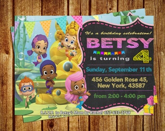 SALE 50% OFF - Bubble Guppies Birthday invitation - Bubble Guppies Birthday Party - Digital invite - Personalized - Thank you card free
