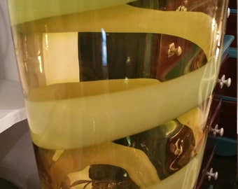 Swirling Green Glass Vase LARGE and Sturdy Like NEW! Blown Glass Heavy Glass Pier One