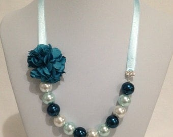 Light Blue Pearl Ribbon Necklace