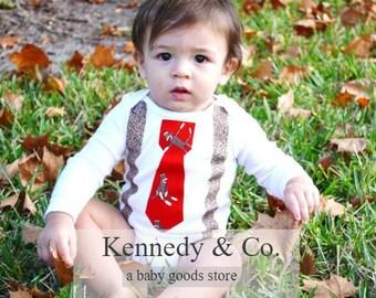 Baby Boy Tie Onesie - Fall Photo Prop - Baby Boy Sock Monkey Bodysuit - Sock Monkey Tie and Suspenders - Cake Smash - Sock Monkey Birthday