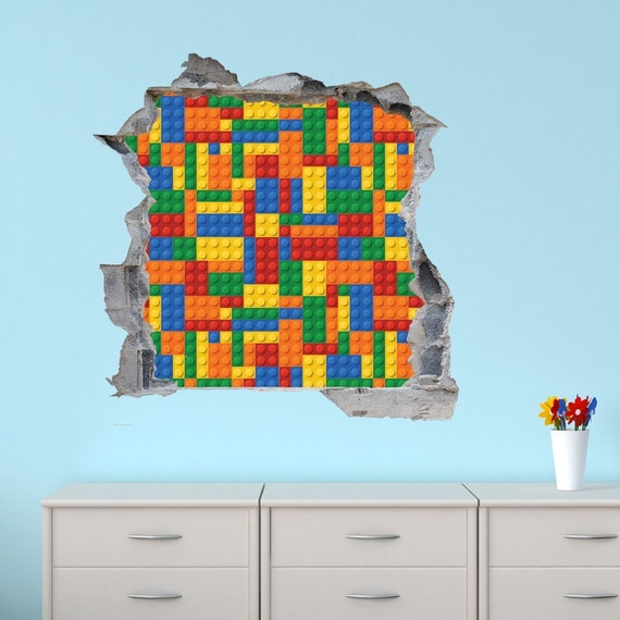 Statement lego brick wall decal sticker mural choice of 4 for Brick wall decal mural