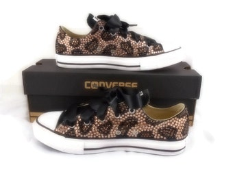 Leopard Print Bling Converse Shoes. Custom Bling Shoes. Rhinestone Shoes. Custom Converse. Animal Print Shoes. Adult Bling Shoes