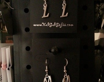 Pewter Initial Earrings, A-Z
