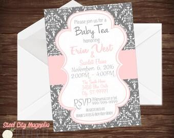 Pink & Grey Baby Shower invitation, Baby Tea invite, Damask, 5x7 Digital printable,