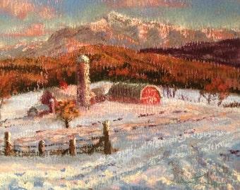 "Green Mountains Vermont Painting Original Soft Pastel, Warm Winter Wall Art 8inx10in ""Mount Mansfield"" Artwork Art Work Anniversary gift him"