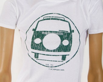 VW Bus size/Youth Small White/Chrome Green tee shirt