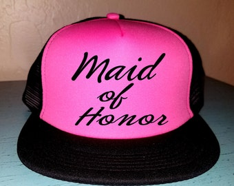 Maid Of Honor Trucker Hat Snapback Custom Trucker Wedding Hat Squad Hat Bachelorette party Hat Wedding Party Trucker Hat Bridal Party Hat