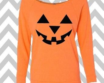 Pumpkin Face Jack-O-Lantern Halloween Ladies 3/4 Sleeve Sweatshirt Oversized Scary Pumpkin Face Halloween Tank Top Pumpkin Face Tank