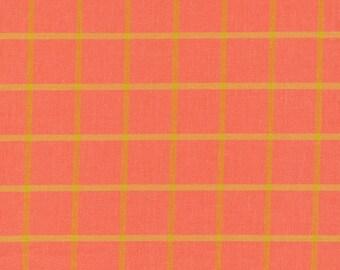 Salmon and Amber - Cloud 9 Organic Plaid - Yarn Dye Broadcloth - Cotton Fabric