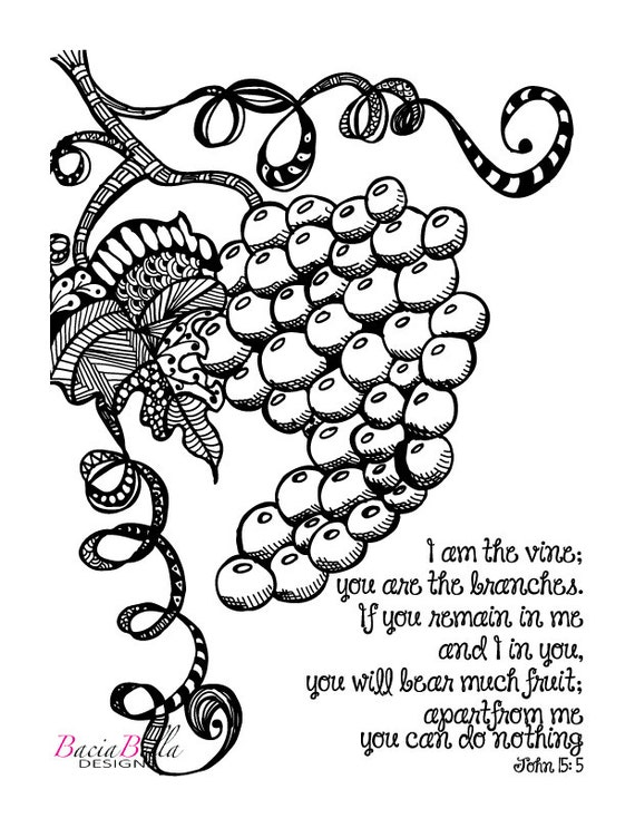 Zen tangle Grapevine-John 15:5-Adult Coloring by ...
