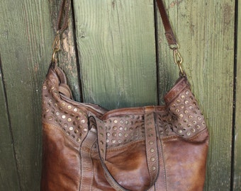 Distressed Vintage Style Brown Studded Leather Handbag