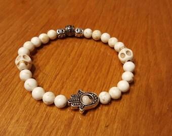 Ladies White Skull and Hamsa Bracelet