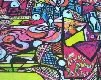 Jersey Fabric,Guernica fabric,art painting fabric,bright colors fabric,clothing fabric,fabric by yard/half yard,european fabric