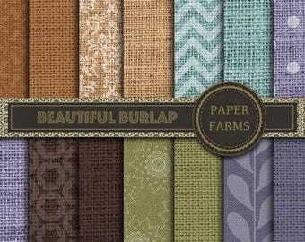 Burlap digital paper, Burlap geometric digital paper, instant download