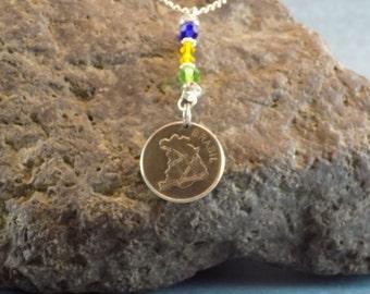 Brazil Coin Pendant Necklace, Brazil Jewelry, Brazil Coin Pendant, Map of Brazil, Brazillian Necklace, Brazil Flag Colors, Gift Bag