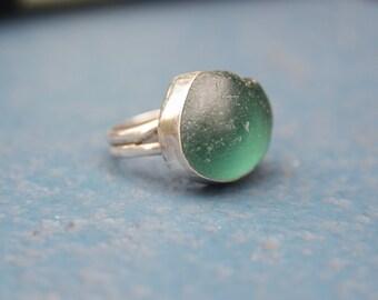 Teal green sea glass ring