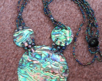 Vintage Paua shell/ abalone necklace with seed beads and button fastening Boho Statement