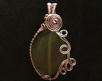 Oxidized copper pendant