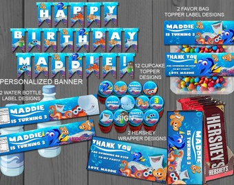 Finding Dory, Custom, set, Birthday, Invite, custom, Label, invitation, party, printable, Invite, favor, banner, Package, Personalized