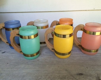 Set of 6 Vintage Siestaware Mugs, Frosted Glass with Wood Handles