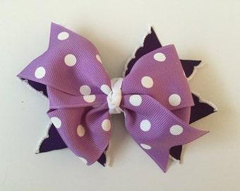 Purple Polka Dot Hair Bow