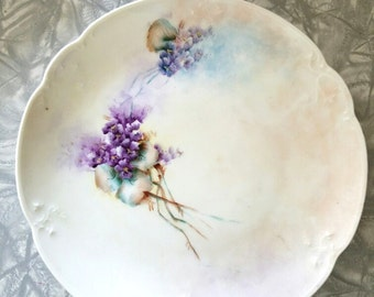 Hand-Painted Plate - Violets – Signed 1914 – Austrian China